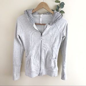 Lululemon Heathered Gray Zip Back To Class Jacket